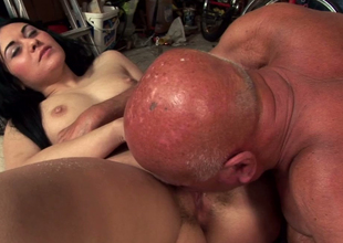 Suggestive dark brown hoe Marsha Cortez fucks ugly aged jerk