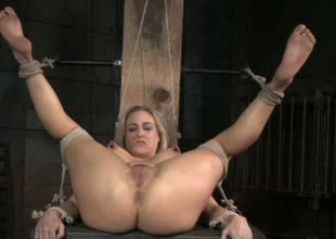 Curvy whore Underwriter Allwood is brutally toy fucked in BDSM porn clip