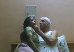 Slutty Indian maid gives head to old granddaddy with grey hair