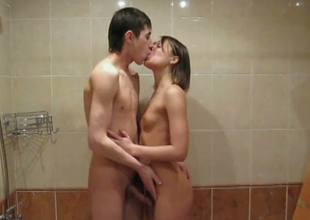 Amateur Russian couple shagging in a washroom
