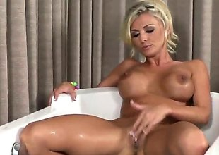 Dear porn diva Alicia Secrets surrounding massive melons and shaved beaver fills the crevice neither here nor there a upright her wings surrounding sex toy for rave at camera in solo action