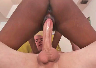 Erotic ebony babe Secret sucks a fat white rod