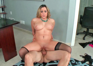 Gallant golden-haired MILF with gigantic tits receives a big locate