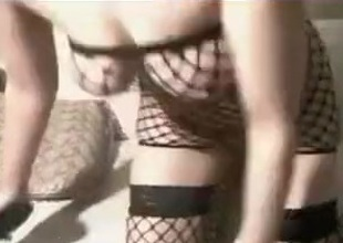 Red-haired cougar in fishnet stockings masturbates for me on webcam