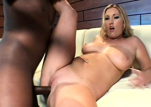 Fat breasted blonde fully enjoys her first encounter with a dusky cock