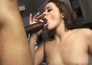 Frisky brunette is desirous on every side in in this hunk's unyielding darksome dong