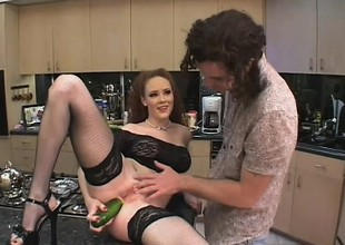 Creepy redhead gets fucked in transmitted to twat and ass with his cock and food
