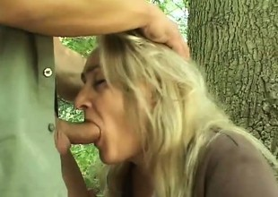 Wicked blonde can't wait for her boyfriend to grapple her nearby the woods