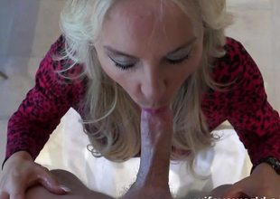 Stunning blonde throat copulates this hard cock
