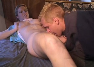 Luscious blonde academy babe Holie Stevens has her boyfriend fucking her juicy vagina
