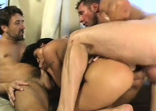 Claudia Ferrari takes specie connected with fuck two dudes and get it up her a-hole and a DP