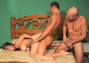 Hot couple gets dirty with their bi male ally and a league together on