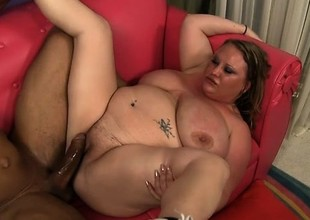 Chunky blond lady seizes the chance to have a huge black cock drilling will not hear of peach
