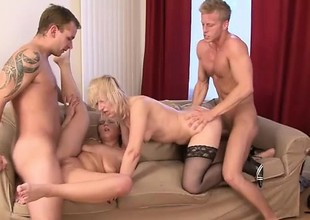 Strumpets Samantha, Cathy and Evelina strike one hot interracial orgy with DP