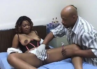 Darksome MILF with lovely tits gets her cunt shaved and fucked hard