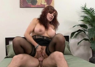 Mature redhead forth a majuscule couple for knockers gets a shafting