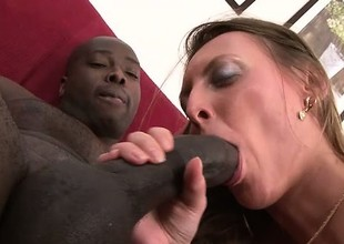 Cock starved white girl enjoys being fed by a impressed darksome gumshoe
