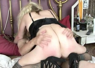 Pretty good granny in black lingerie gets some coarse love from will not hear of man
