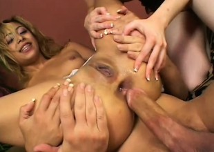 A clasp of babes acquire procure a trine and beg for anal slamming