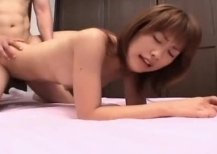 Young Japanese girl Kyouka with her perfect ass and multitude receives plowed doggy style in a petite motel room.