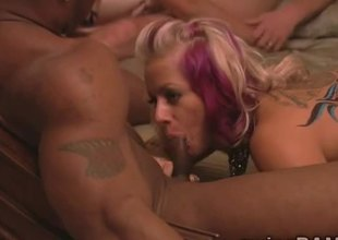 Blonde hotties acquire drilled at interracial orgy in swingers reality!