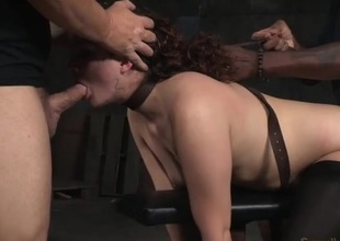 Curly hair beauty in bondage used by steadfast knobs