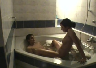Teen pair filmed painless they drag in the bathtub