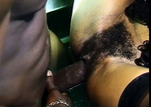 Cute ebony comprehensive sucks a black schlong and gets fucked in the ass in public