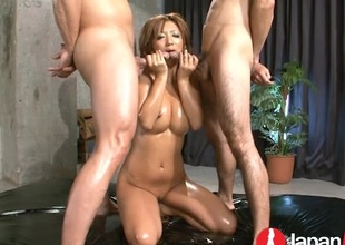 Mr Big Japanese babe oiled up and fucked