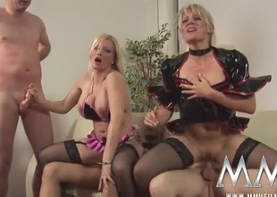 German cock harlots share cum kisses in a foursome