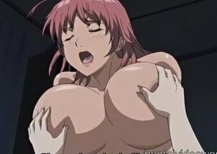 Gigantic breasts anime girl rides a big slip