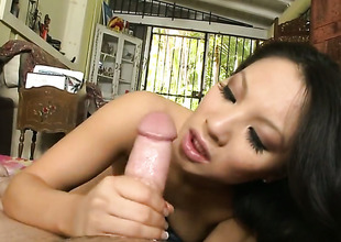 Dark brown Asa Akira gets their way soaking wet have a passion aperture pumped with interracial hardcore action